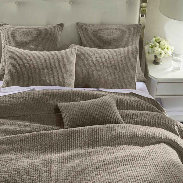 Picture of Stone Wash Velvet 3-Piece Quilt Set - Taupe