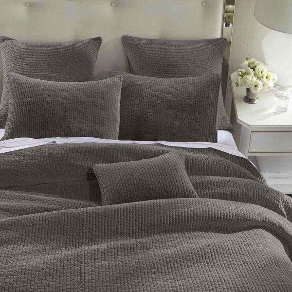 Picture of Stone Wash Velvet 3-Piece Quilt Set - Gray