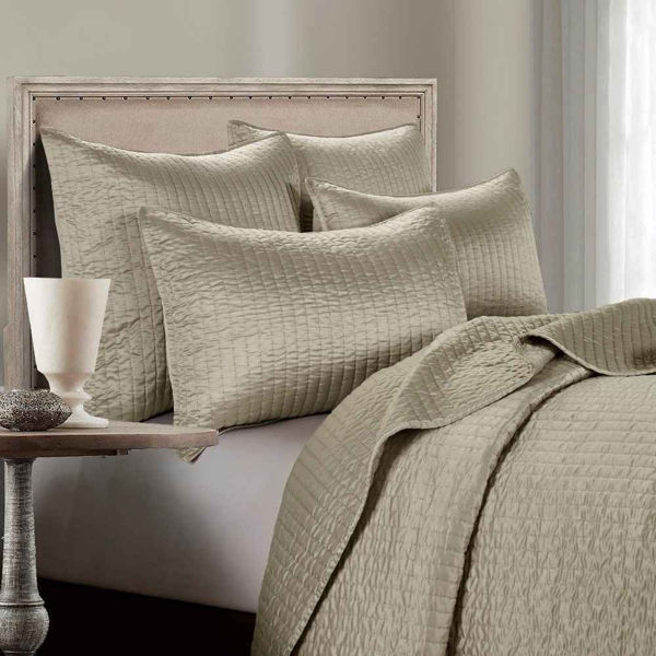 Picture of Channel Satin 3-Piece Comforter Set - Tan