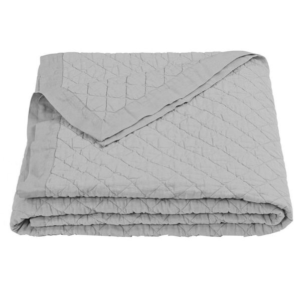 Picture of Diamond Pattern Linen Quilt - Gray
