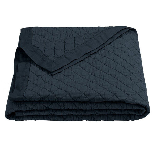 Picture of Diamond Pattern Linen Quilt - Navy