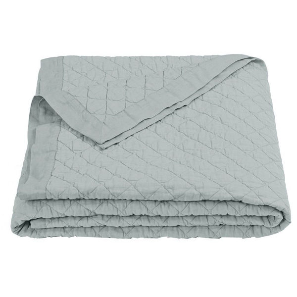 Picture of Diamond Pattern Linen Quilt - Seaglass