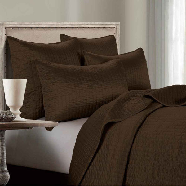 Picture of Channel Satin 3-Piece Comforter Set - Brown