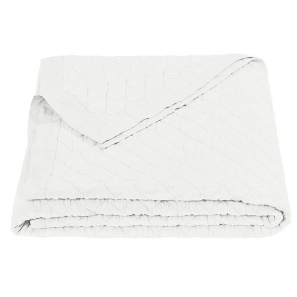 Picture of Diamond Pattern Linen Quilt - White