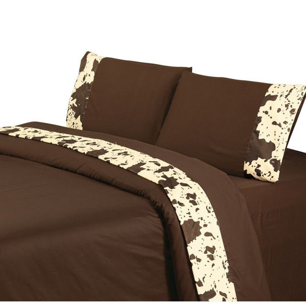 Picture of Faux Cowhide Sheet Set - Chocolate
