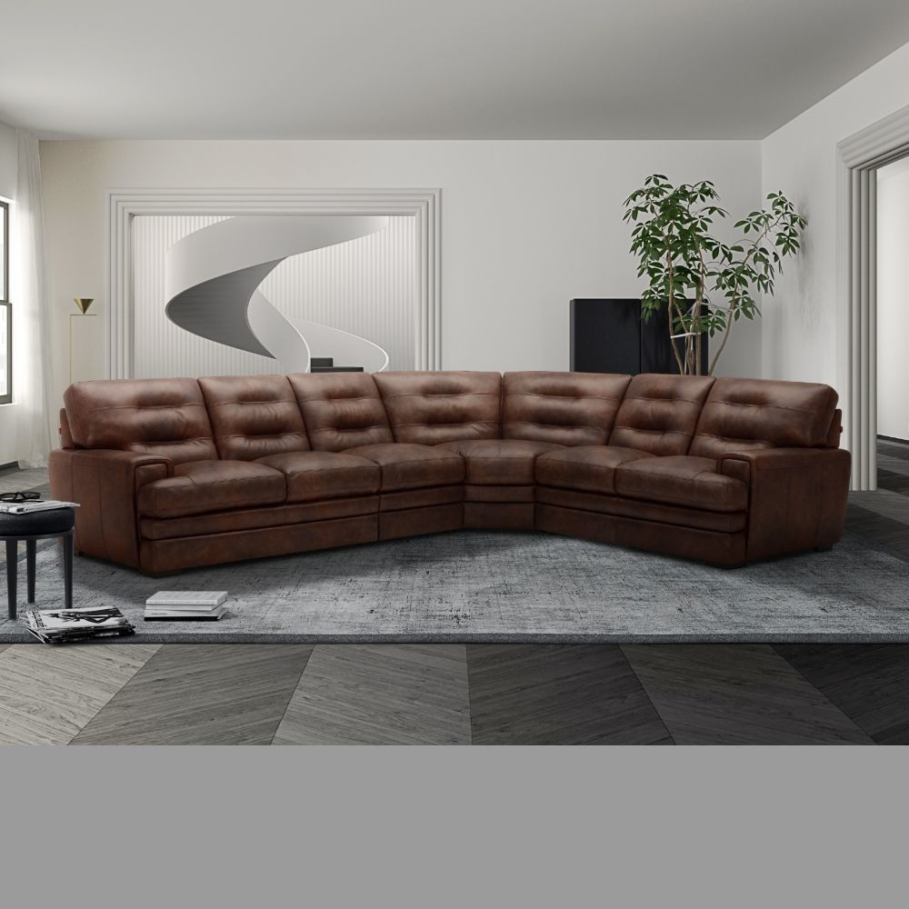 Salerno 3-Piece 100% Leather Sectional - Lifestyle
