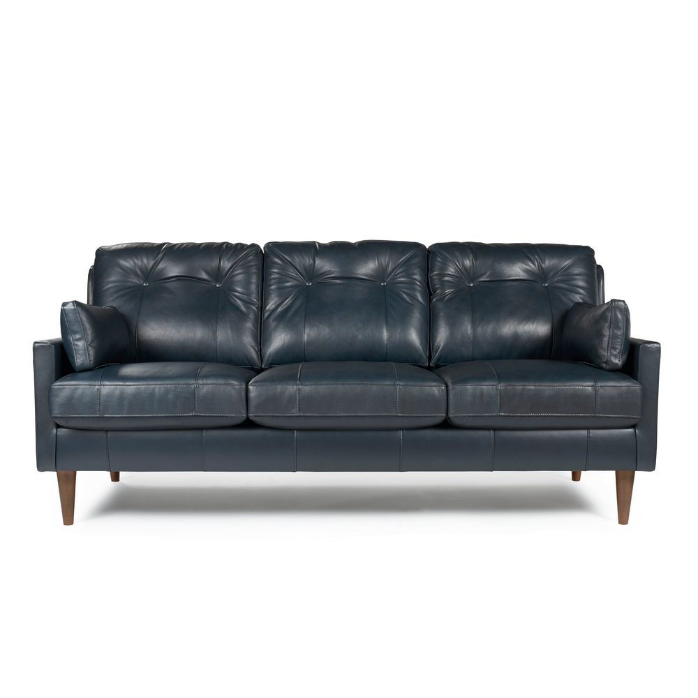 Picture of Trevin Leather Sofa - Navy