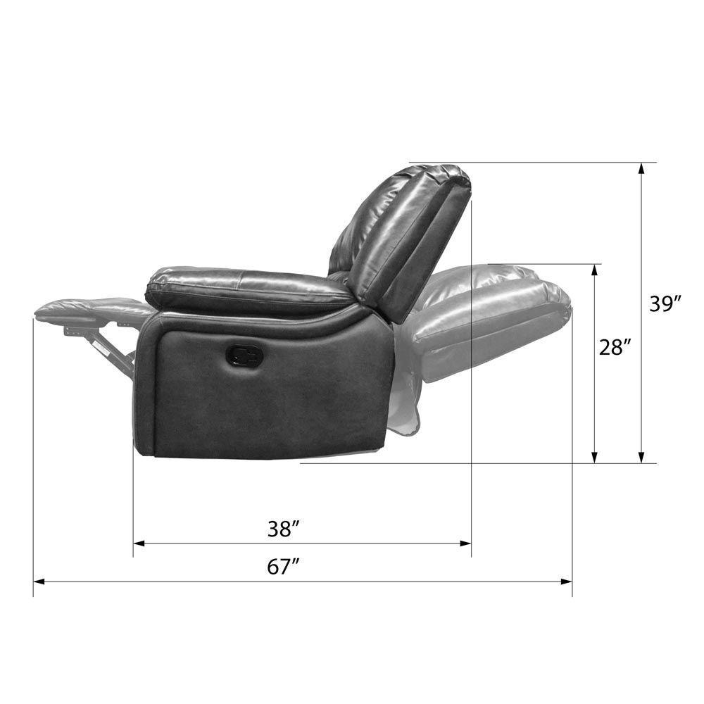 Navaro Reclining Sofa - Side Dimensions