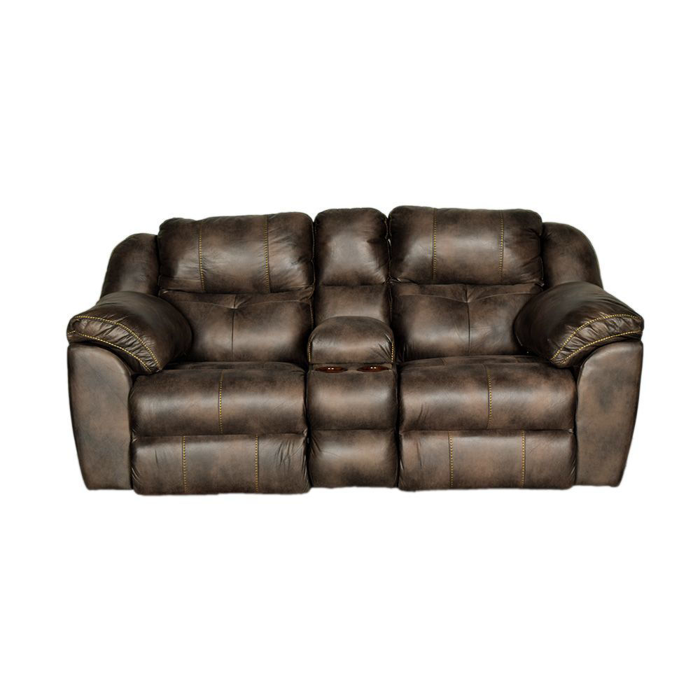 Bear Power Reclining Loveseat With Console In Dusty - Front
