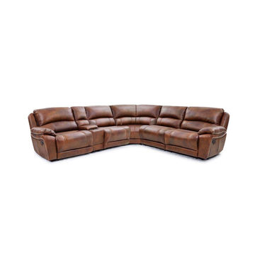 Hudson 6-Piece Leather Power Reclining Sectional