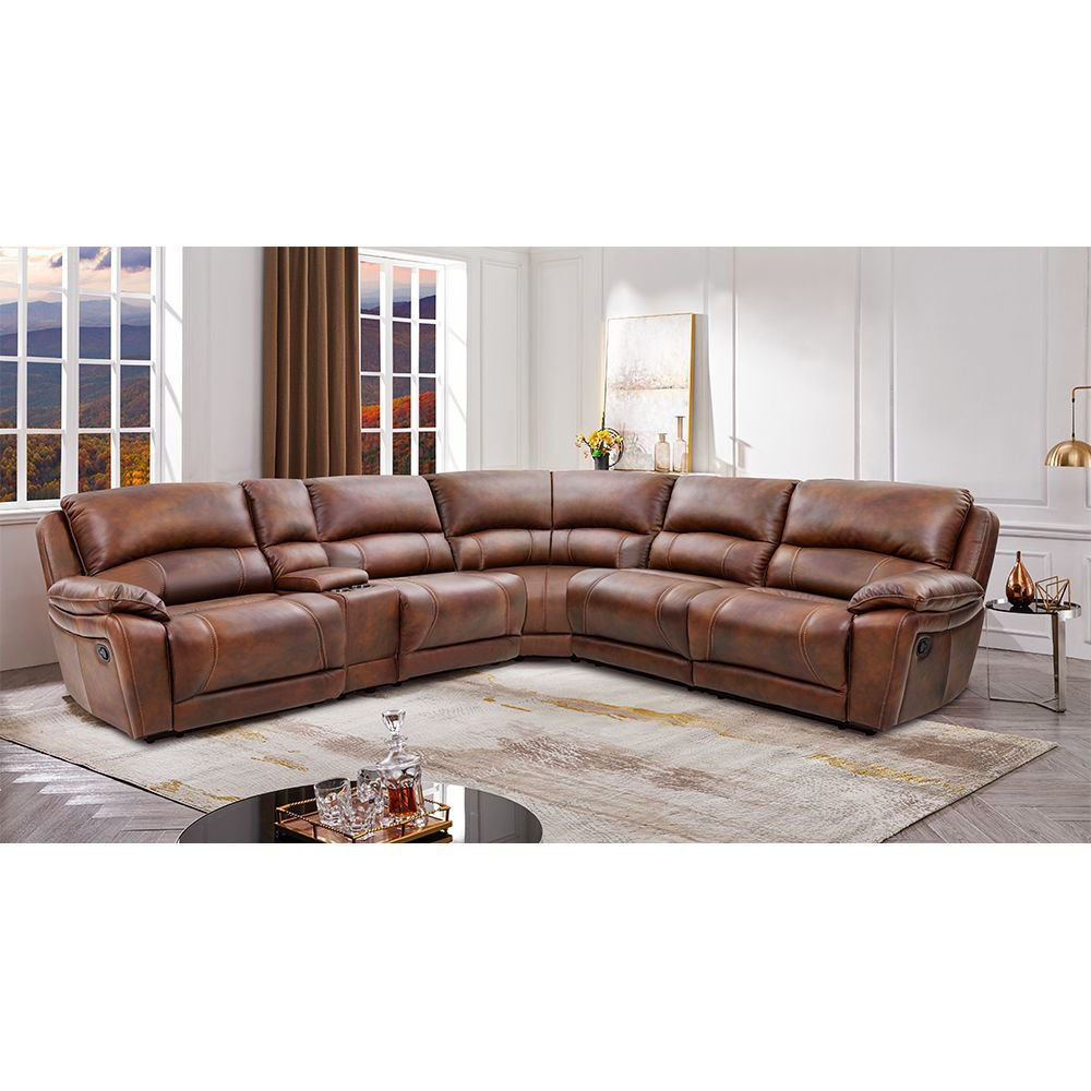 Hudson 6-Piece Leather Power Reclining Sectional - Lifestyle