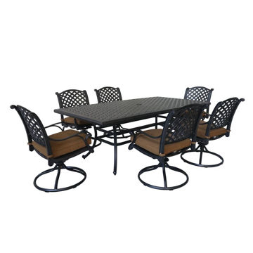 Picture of Taos 2 Outdoor 7-Piece Patio Set with Swivel Chairs