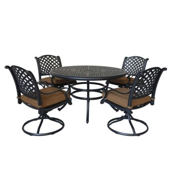 Picture of Taos 2 Outdoor 5-Piece Patio Set with Swivel Chairs