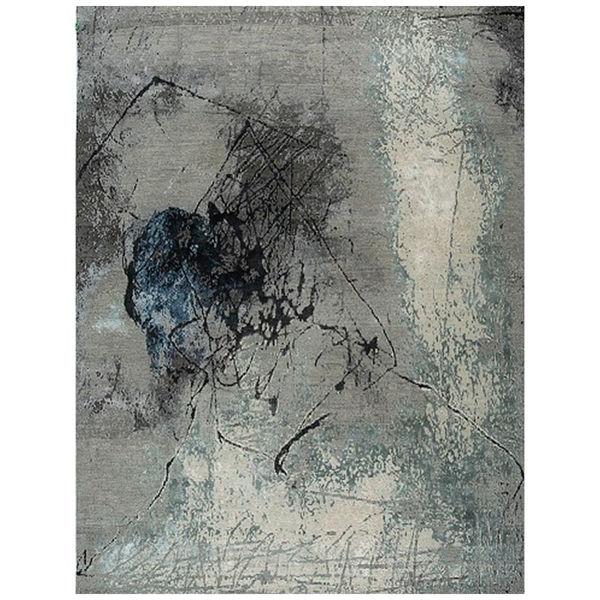 Picture of Gray Aqua Wool/Bamboo Silk Modern Area Rug - 8' x 10'