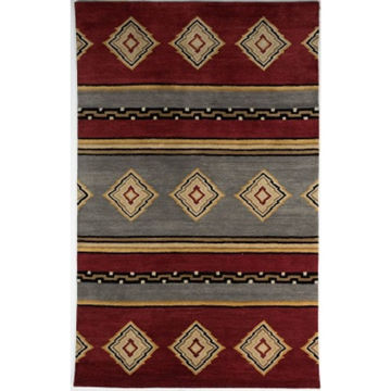 Picture of Red and Blue Hand-Tufted Southwest Wool Rug - 5' x 8'