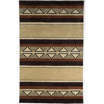 Picture of Tan and Brown Hand-Tufted Southwest Wool Rug - 5' x 8'