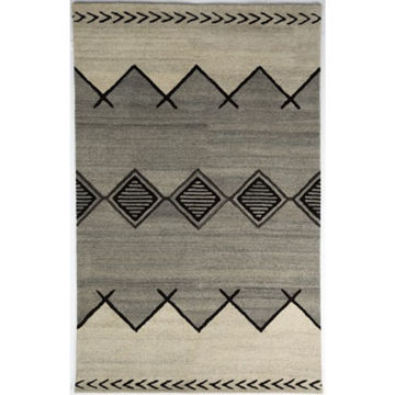 Picture of Gray and Ivory Hand-Tufted Southwest Wool Rug - 5' x 8'