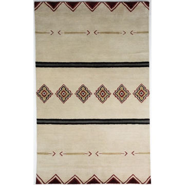 Picture of Ivory and Beige Hand-Tufted Southwest Wool Rug - 2' x 3'