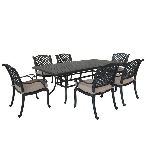 Picture of Manzano Rectangular Patio Set With Arm Chairs