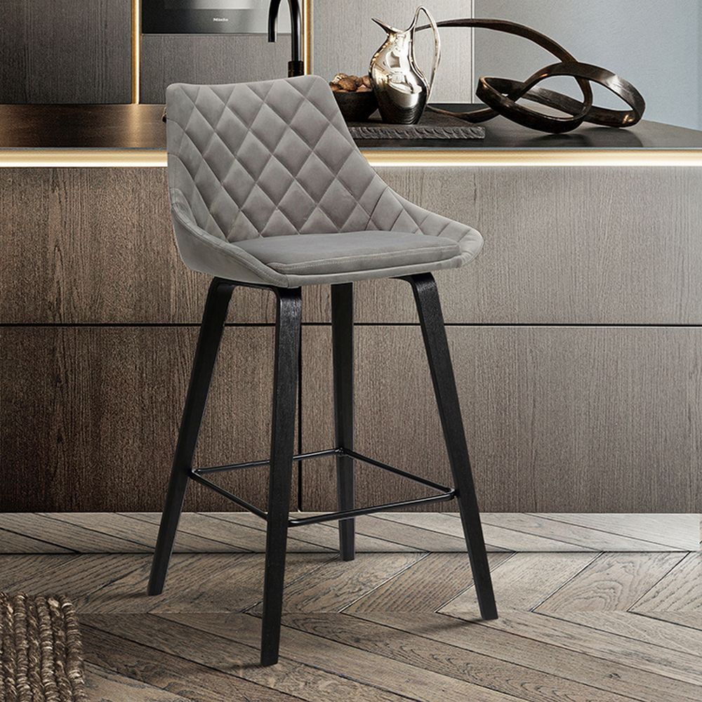 """Picture of Dani 26"""" Upholstered Stool - Gray"""
