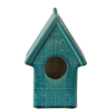 Picture of Tye Lined Glass Ceramic House- Blue