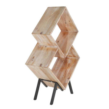 """Picture of Wood 33.75"""" 2-Tier Magazine Rack - Brown"""