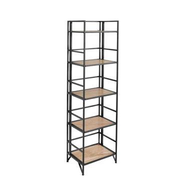 "Picture of Wood/Metal 63"" 5-Tier Folding Shelf Unit - Black"