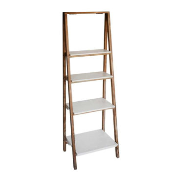 """Picture of Wood/Metal 61"""" Ladder Shelf - White/Brown"""