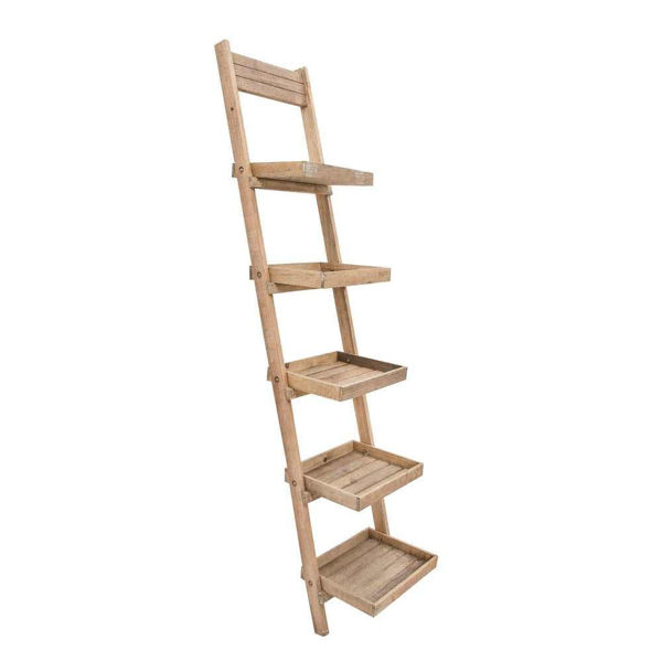 "Picture of Wood/Metal 77"" Ladder Shelf - Brown"