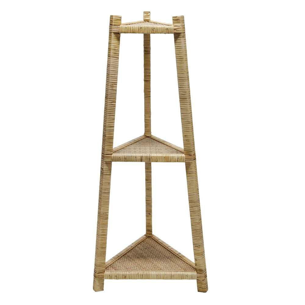 "Picture of Wood/Rattan 37"" Corner Triangle Shelf - Brown"