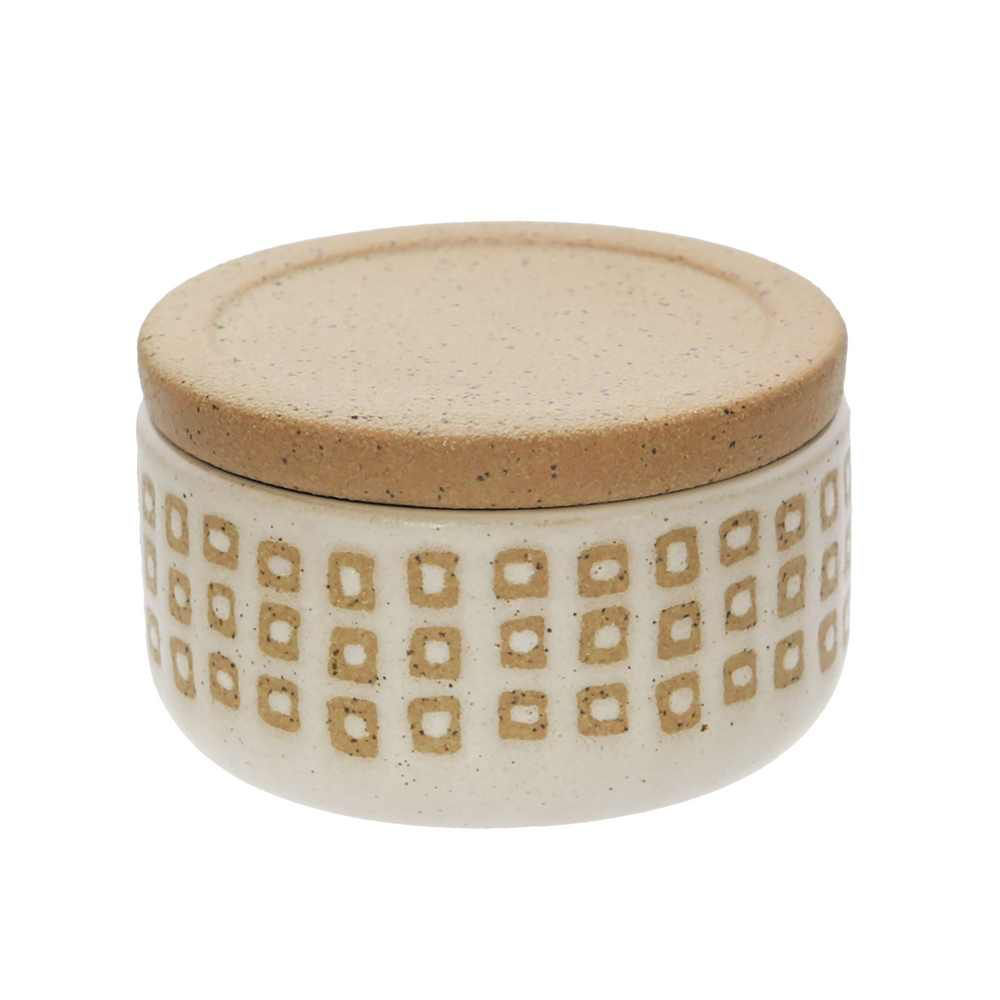 """Picture of Asmo 4"""" Ceramic Dotted Jar - Sand"""
