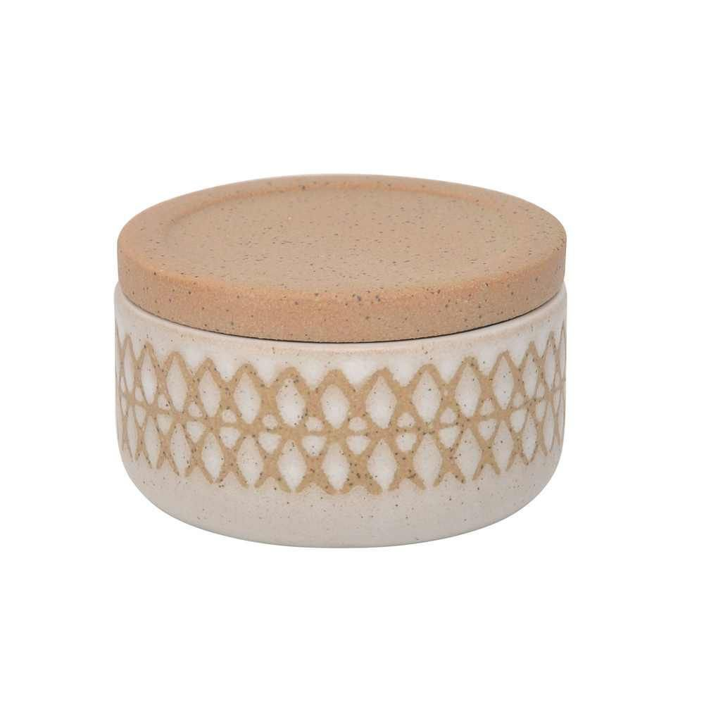 """Picture of Asmo 5"""" X Covered Ceramic Jar - Sand"""