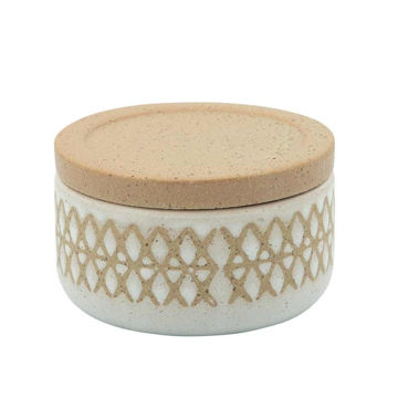 """Picture of Asmo 4"""" X Covered Ceramic Jar - Sand"""