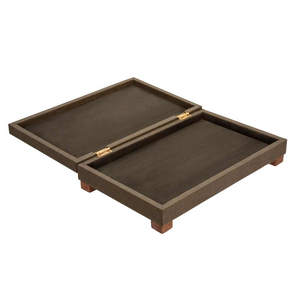 """Picture of Dia 16"""" Faux Leather Wooden Box - Green"""