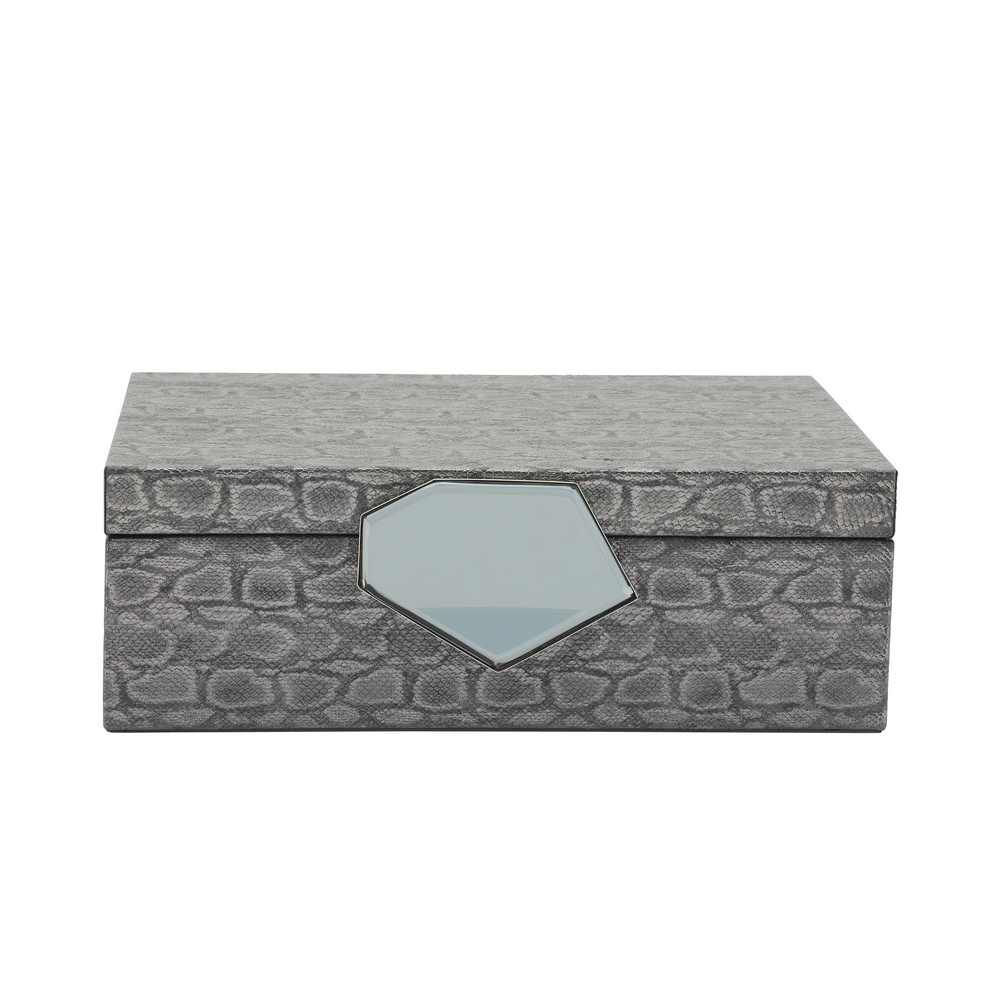 """Picture of Dia 12"""" Faux Leather Box - Gray"""