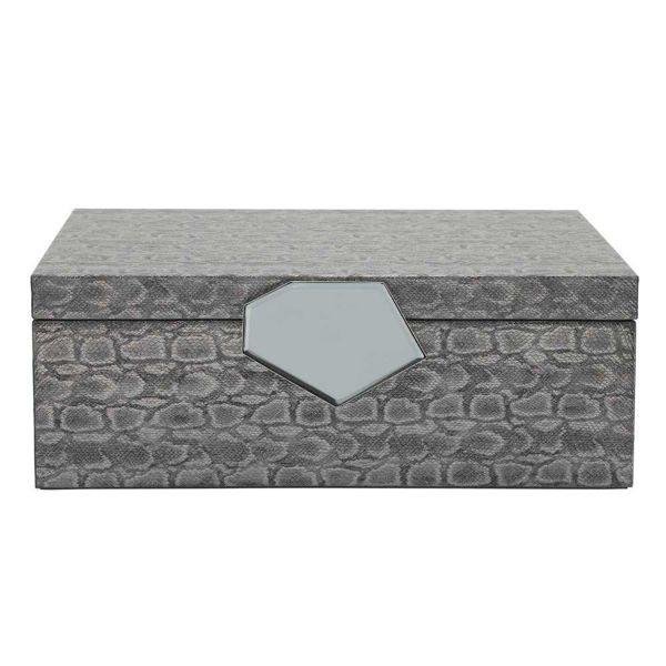 """Picture of Dia 14"""" Faux Leather Box - Gray"""