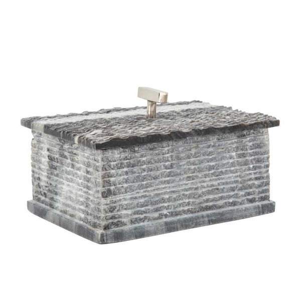 """Picture of Harry 7"""" x 3"""" Marble Silver Knobbed Box - Gray"""