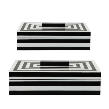 Picture of Asher Stripped Boxes - Set of 2 - Black and White