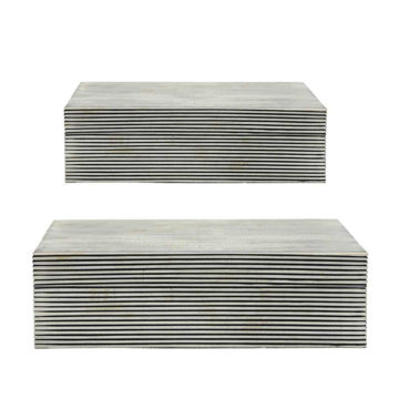 Picture of Asher Pinstrip Boxes - Set of 2 - Black and White