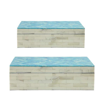 Picture of Asher Herringbone Boxes - Set of 2 - Blue