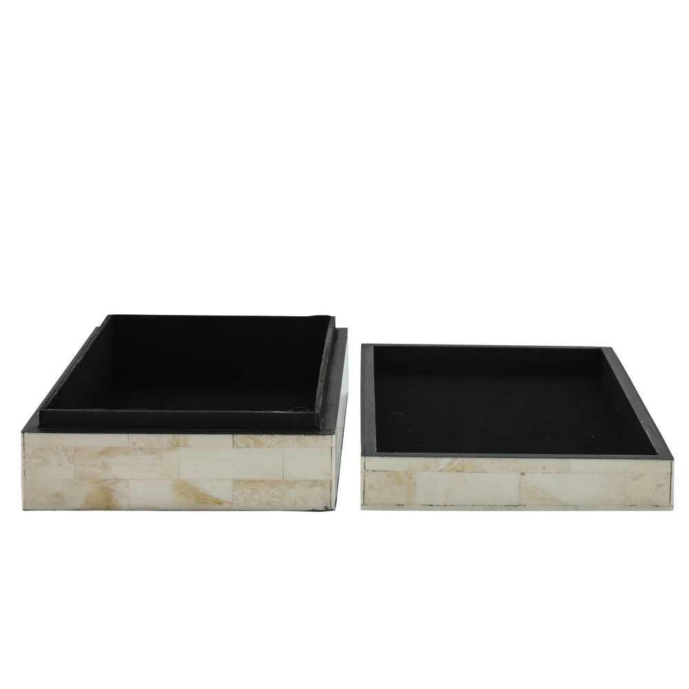 Picture of Asher Checkered Boxes - Set of 2 - Black and White