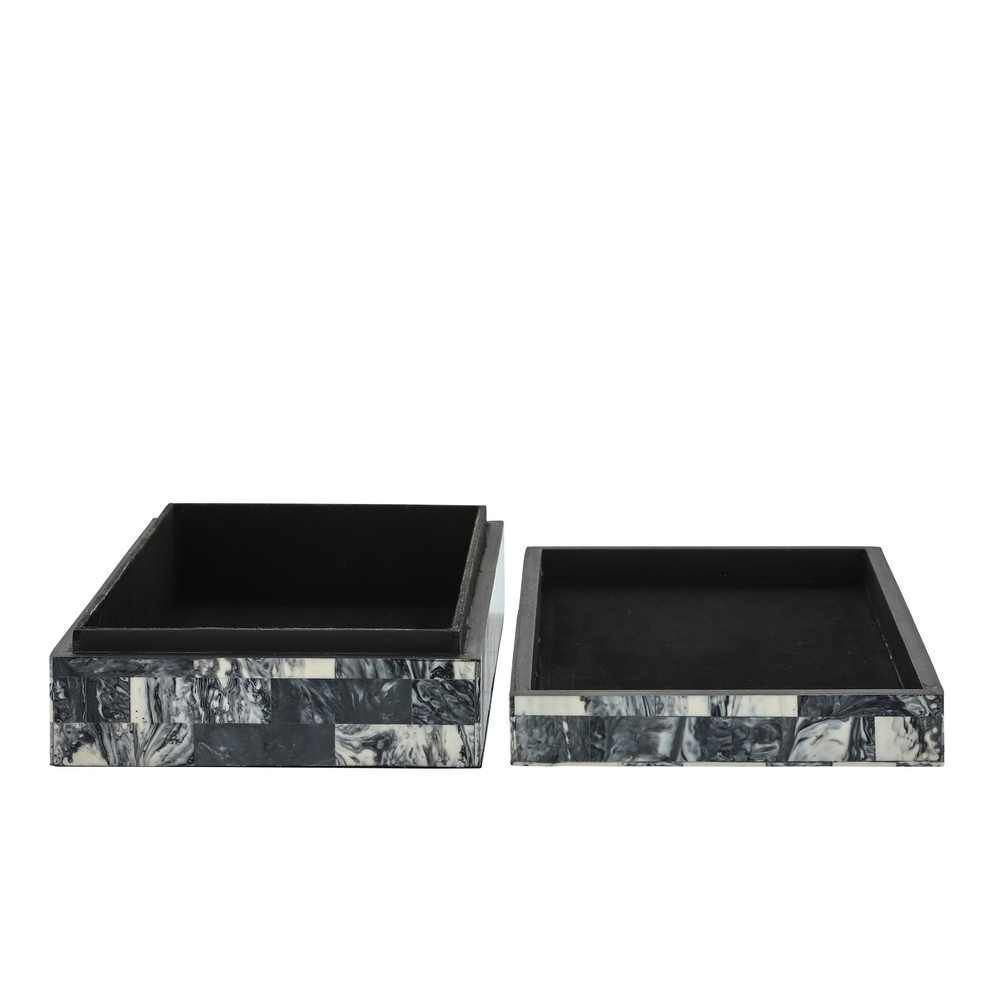 Picture of Asher Herringbone Boxes - Set of 2 - Black and Whi