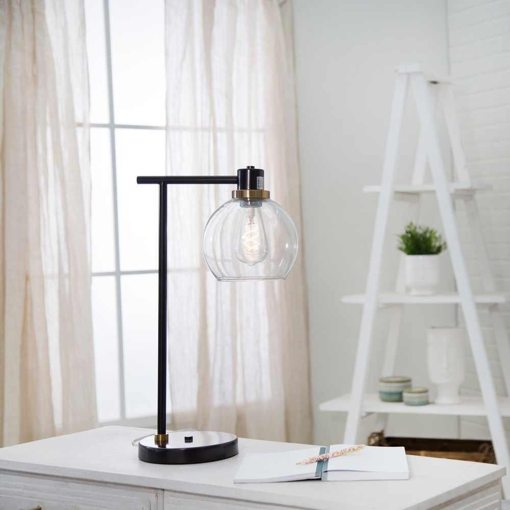 """Picture of Metal 21"""" Round Desk Lamp with USB - Bronze"""