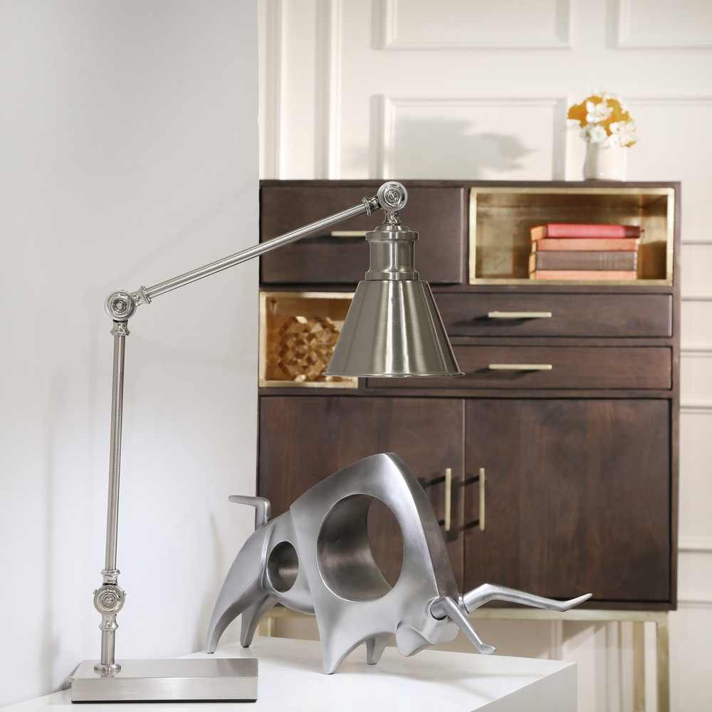 """Picture of Metal 22"""" Task Table Lamp - Silver"""