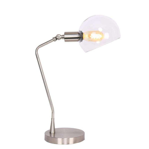 """Picture of Metal 17"""" Desk Lamp with Glass Shade - Silver"""