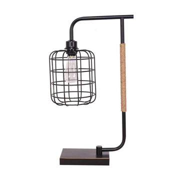 """Picture of Metal 22"""" Task Lamp with Cage Shade - Black"""