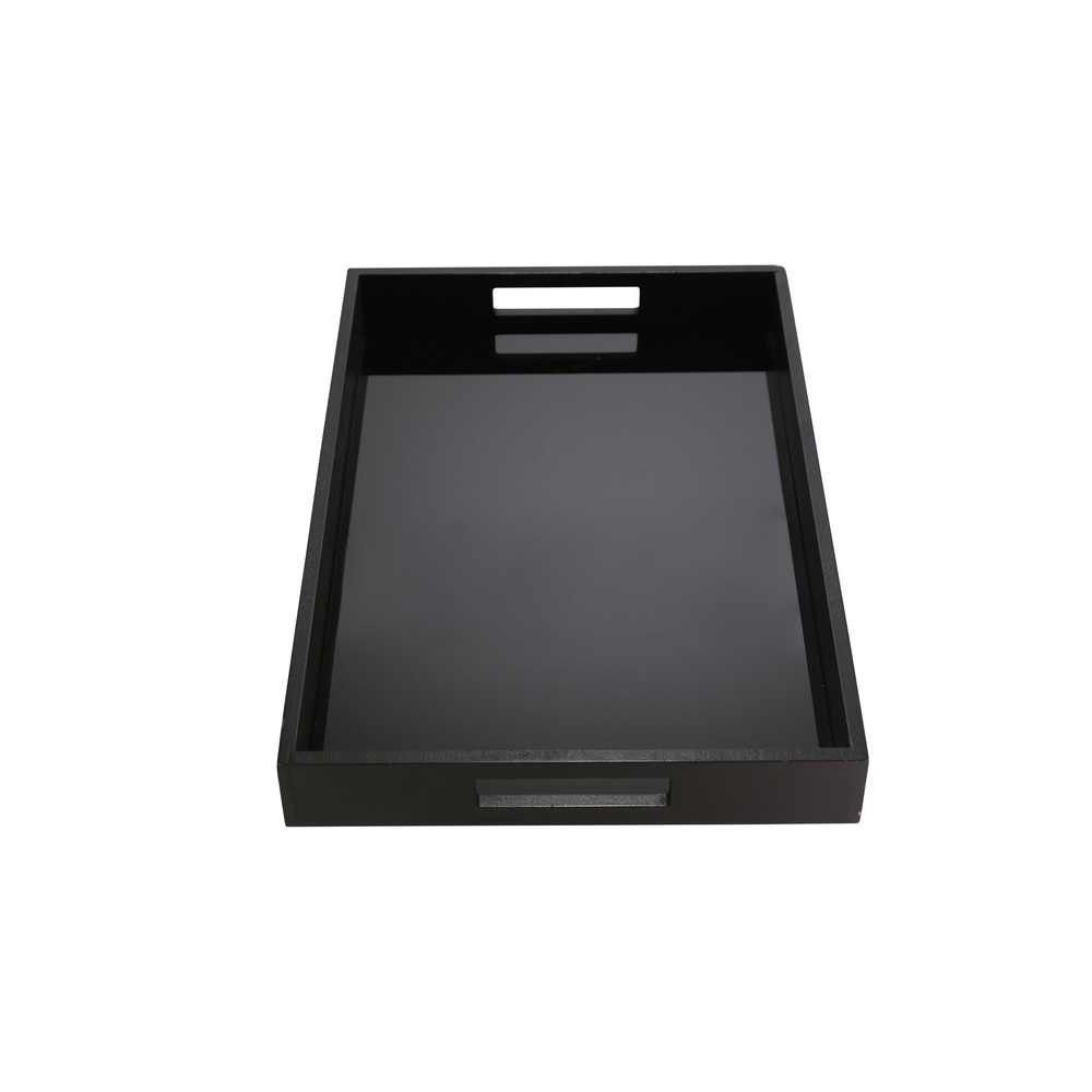 Picture of Wood and Glass Tray - Black
