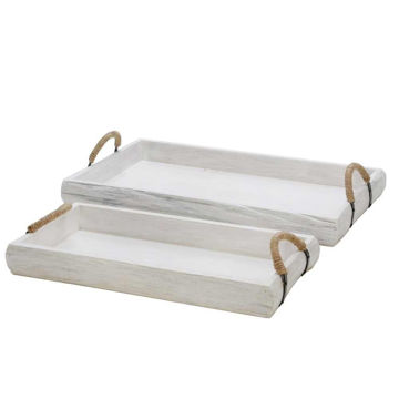 Picture of Wood Trays - Set of 2 - White Wash