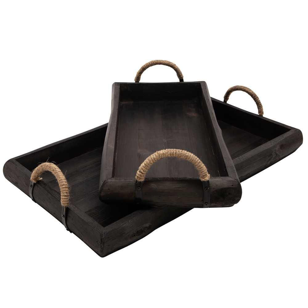 Picture of Wood Trays - Set of 2 - Black