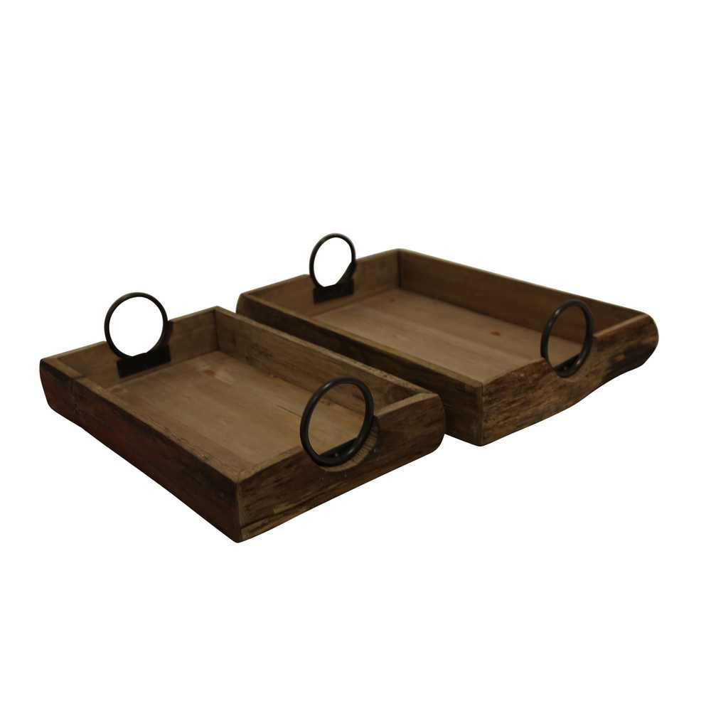 """Picture of Wood Trays 19"""" x 13"""" x 5"""" - Set of 2 - Brown"""